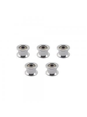 5 PCS Toothless GT2 Idler Pulley 16T Aluminum 3mm Bore 6mm Width Timing Belt