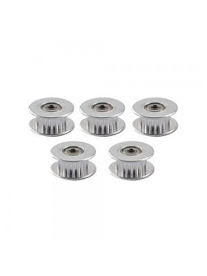5 PCS 20 Teeth GT2 Idler Pulley 20T Aluminum 3mm Bore 6mm Width Timing Belt