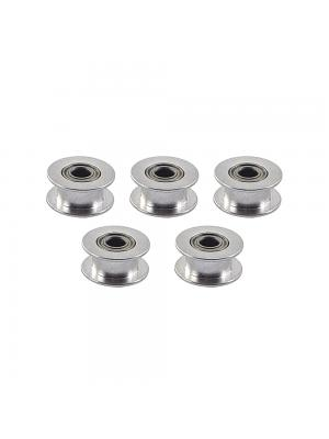 5 PCS Toothless GT2 Idler Pulley 20T Aluminum 5mm Bore 6mm Width Timing Belt