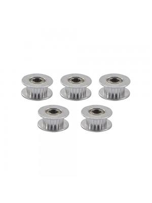 5 PCS 20 Teeth GT2 Idler Pulley 20T Aluminum 5mm Bore 6mm Width Timing Belt